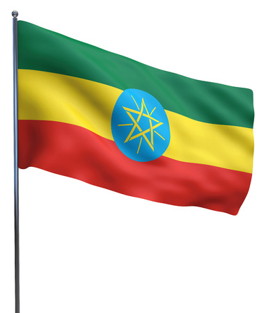 ethiopia  flag: Ethiopia flag waving image isolated on white. Clipping path included. Stock Photo