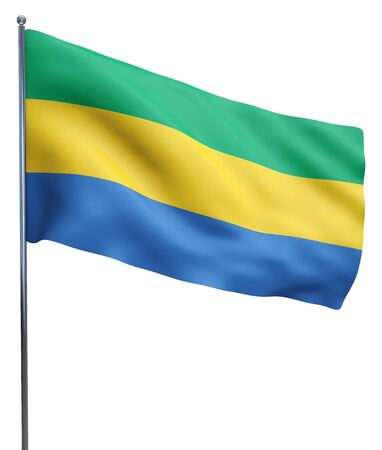 gabon: Gabon flag waving image isolated on white. Clipping path included.