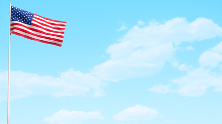 USA American flag waving on bright day sky background.