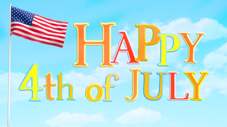Happy Fourth of July greeting poster with USA American flag on sky background.
