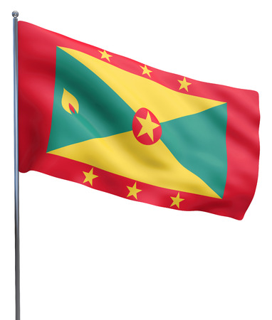 flutter: Grenada flag waving image isolated on white. Clipping path included.