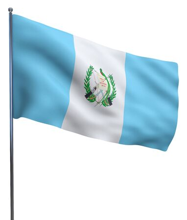 flutter: Guatemala flag waving image isolated on white. Clipping path included.