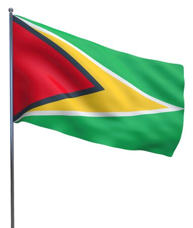 guiana: Guiana flag waving image isolated on white. Clipping path included.
