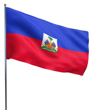 haiti: Haiti flag waving image isolated on white. Clipping path included.
