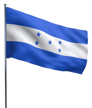 bandera honduras: Imagen de la bandera ondeando Honduras aislado en blanco. Trazado de recorte incluido.