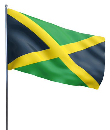 Jamaica flag waving image isolated on white. Clipping path included. photo