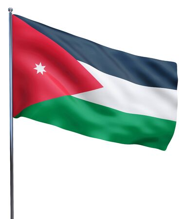 flutter: Jordan flag waving image isolated on white. Clipping path included.