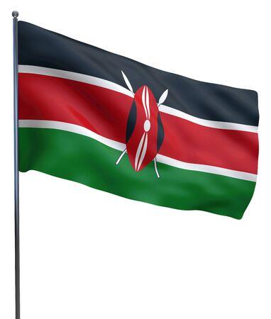 kenya: Kenya flag waving image isolated on white. Clipping path included.