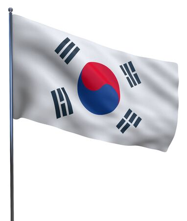 south asian: South Korea flag waving image isolated on white. Clipping path included.