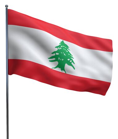 lebanese: Lebanon flag waving image isolated on white. Clipping path included.