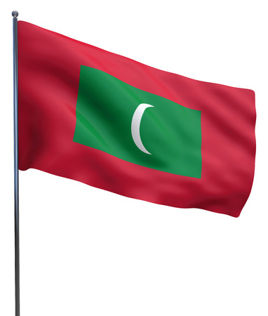 Maldives flag waving image isolated on white. Clipping path included.