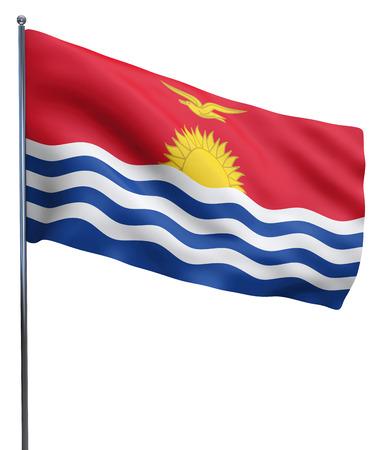 kiribati: Kiribati flag waving image isolated on white. Clipping path included.