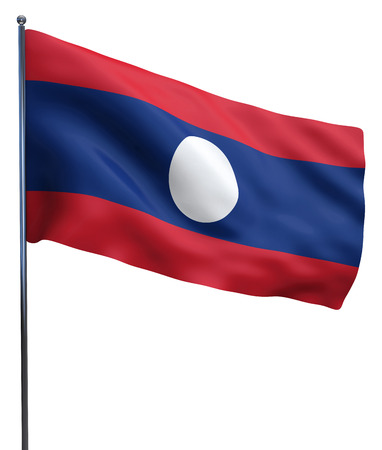 Laos flag waving image isolated on white. Clipping path included.