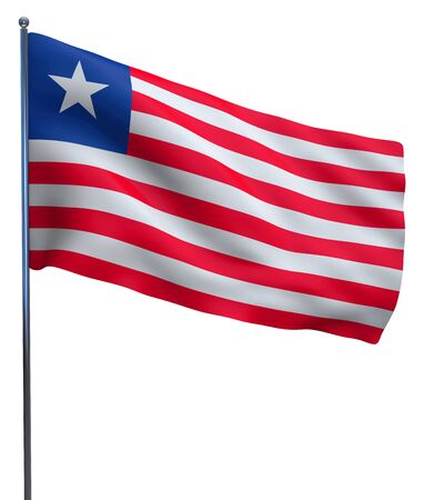 Liberia flag waving image isolated on white. Clipping path included. photo