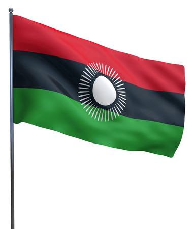 flutter: Malawi flag waving image isolated on white. Clipping path included.