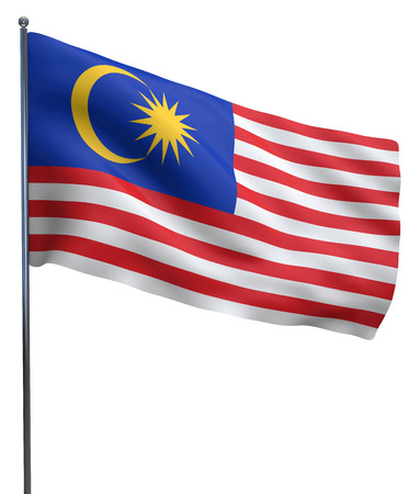 Malaysia flag waving image isolated on white. Clipping path included.