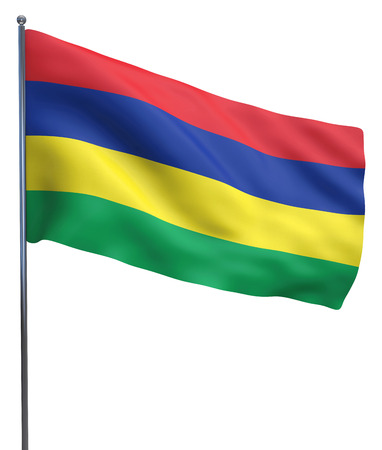 flutter: Mauritius flag waving image isolated on white. Clipping path included. Stock Photo
