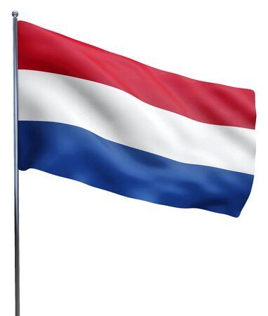 Nederland Holland image vlag zwaaien op wit wordt geïsoleerd. Stockfoto