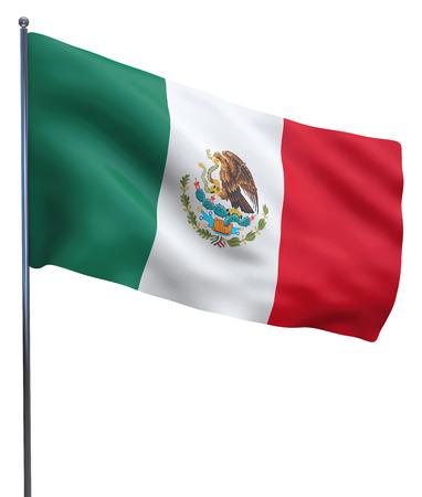 bandera mexicana: Imagen de la bandera ondeando México aislado en blanco.