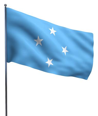 micronesia: Micronesia flag waving image isolated on white.