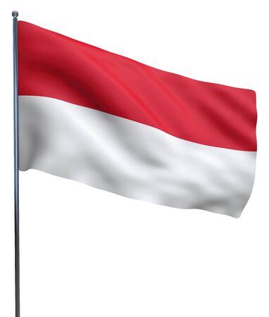 monaco: Monaco flag waving image isolated on white.  Stock Photo
