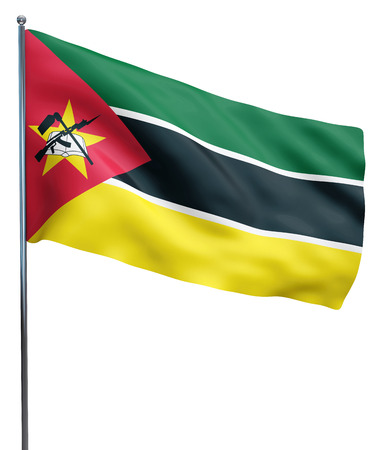mozambique: Mozambique flag waving image isolated on white. Clipping path included. Stock Photo