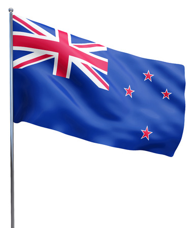 New Zealand flag waving image isolated on white. Clipping path included.