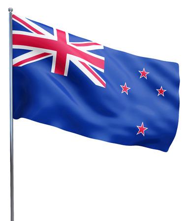 bandera de nueva zelanda: Nueva Zelanda imagen de la bandera ondeando aislados en blanco. Trazado de recorte incluido. Foto de archivo