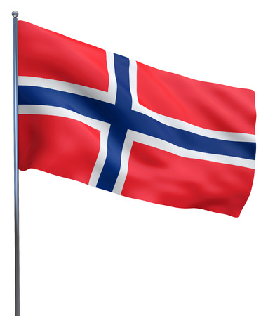 ノルウェー国旗を振って画像白で隔離。クリッピング パスを含めます。 写真素材