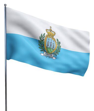 marino: San Marino flag waving image isolated on white. Clipping path included. Stock Photo