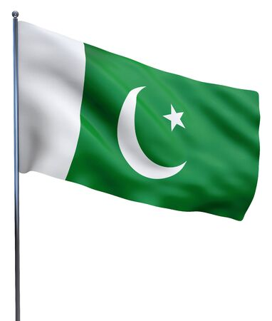 pakistani: Pakistan flag waving image isolated on white. Clipping path included.