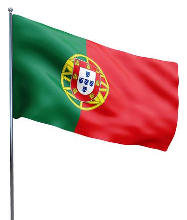 포르투갈 깃발 흔들며 이미지 화이트 절연입니다. 클리핑 패스가 포함되어 있습니다. 스톡 콘텐츠