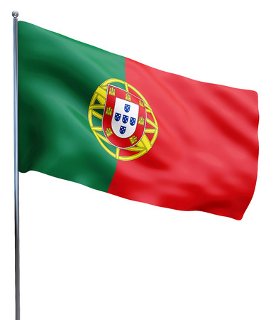 Portugal flag waving image isolated on white. Clipping path included. Stok Fotoğraf