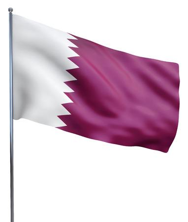 bandera blanca: Imagen de la bandera ondeando Qatar aislado en blanco. Trazado de recorte incluido. Foto de archivo
