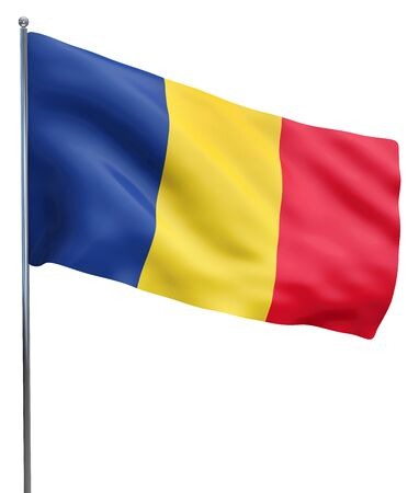 romania flag: Romania flag waving image isolated on white. Clipping path included.