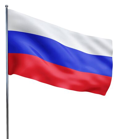 Russia flag waving image isolated on white. Clipping path included. 版權商用圖片