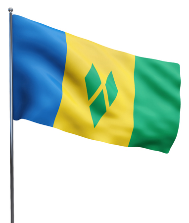 grenadines: Saint Vincent and the Grenadines Flag Image isolated on white. Stock Photo