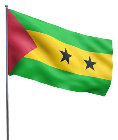principe: Santo Tomé y Príncipe bandera ondeando imagen aislados en blanco. Trazado de recorte incluido. Foto de archivo