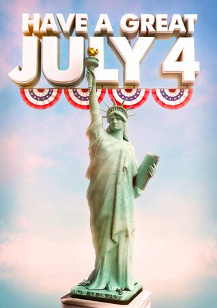 july 4: July 4 Statue of Liberty poster celebraving USA Inndependence Day.