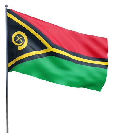 vanuatu: Vanuatu flag waving image isolated on white. Clipping path included.