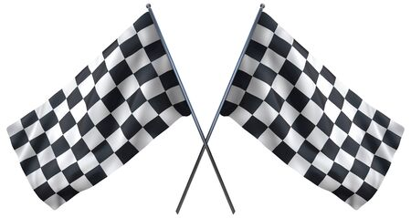 chequered: Racing chequered flag isolated on white. Including clipping path.