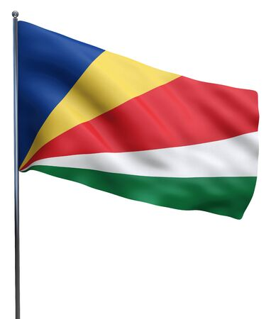 seychelles: Seychelles flag waving image isolated on white. Clipping path included. Stock Photo