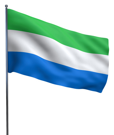 leone: Sierra Leone flag waving image isolated on white. Clipping path included. Stock Photo
