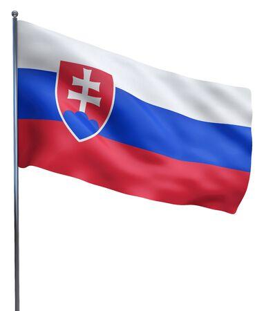 slovakian: Slovakiaflag waving image isolated on white. Clipping path included.
