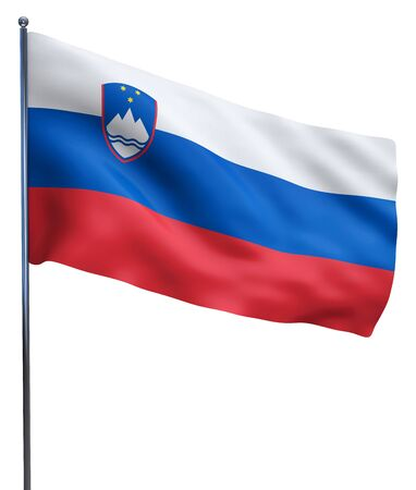slovenian: Slovenia flag waving image isolated on white. Clipping path included.