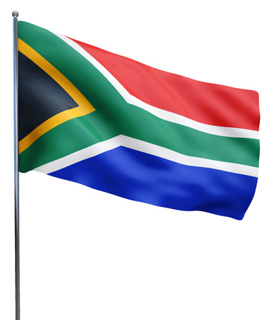 south africa flag: South Africa flag waving image isolated on white. Clipping path included.