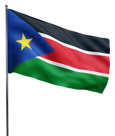south sudan: South Sudan flag waving image isolated on white. Clipping path included. Stock Photo