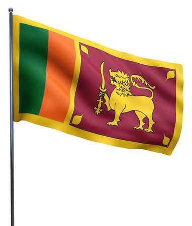 sri lankan flag: Sri Lanka flag waving image isolated on white. Clipping path included. Stock Photo