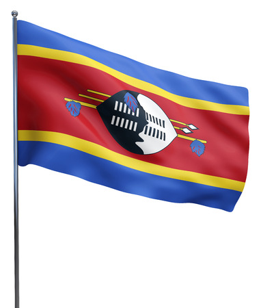 swaziland: Swaziland flag waving image isolated on white. Clipping path included. Stock Photo