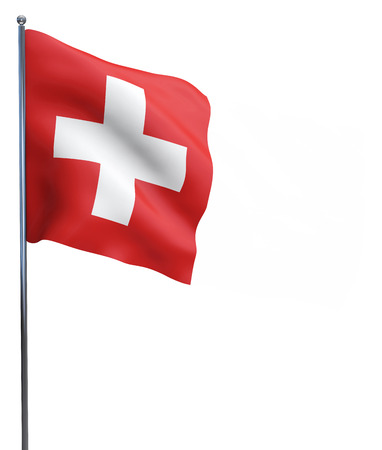 Zwitserse vlag wit kruis op rode achtergrond geïsoleerd op wit. Stockfoto